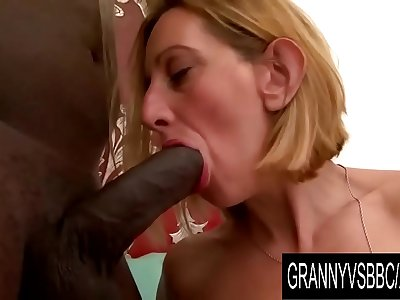 Granny Vs BBC - Older Blonde Lilou Ch Takes It up the Ass