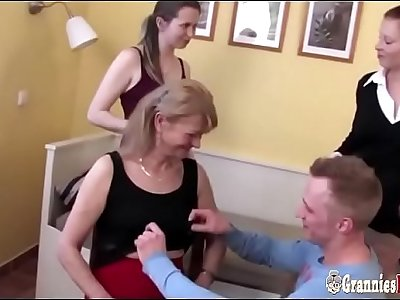 Lucky Boy And GILFs And Grannies In Group Sex