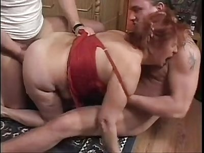 Granny BBW Ildiko Fucks Two Guys