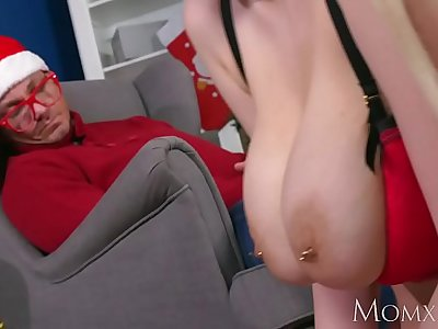 MOM My big tits Milf stepmom fucked me in front of my sleeping dad